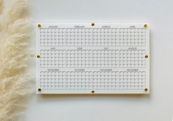 12 Month Calendar For Wall, White Acrylic
