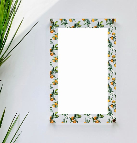 Acrylic Citrus Orange Notes Board For Wall