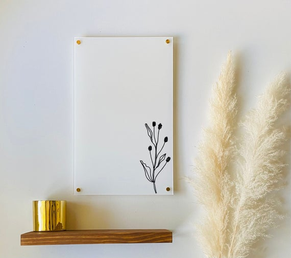 White Acrylic Dry Erase Notes Board