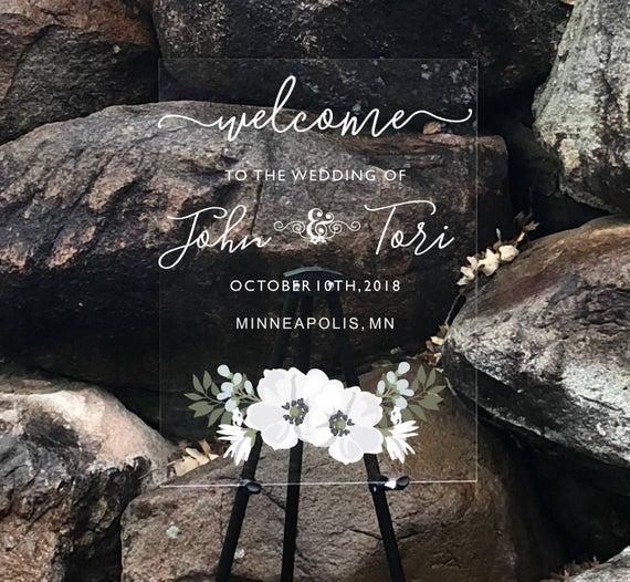 Custom Acrylic Wedding Welcome Sign