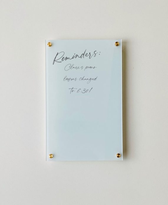 """Blank Blue Mint Acrylic Dry Erase Writing Board, 1/4"""" Thick"""
