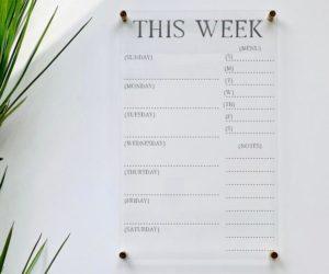 crylic Weekly Calendar Board For Wall