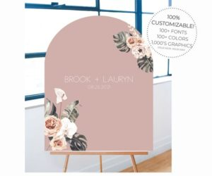 Custom Arched Acrylic Wedding Welcome Sign