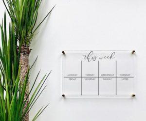 Acrylic Weekly Calendar Board For Wall